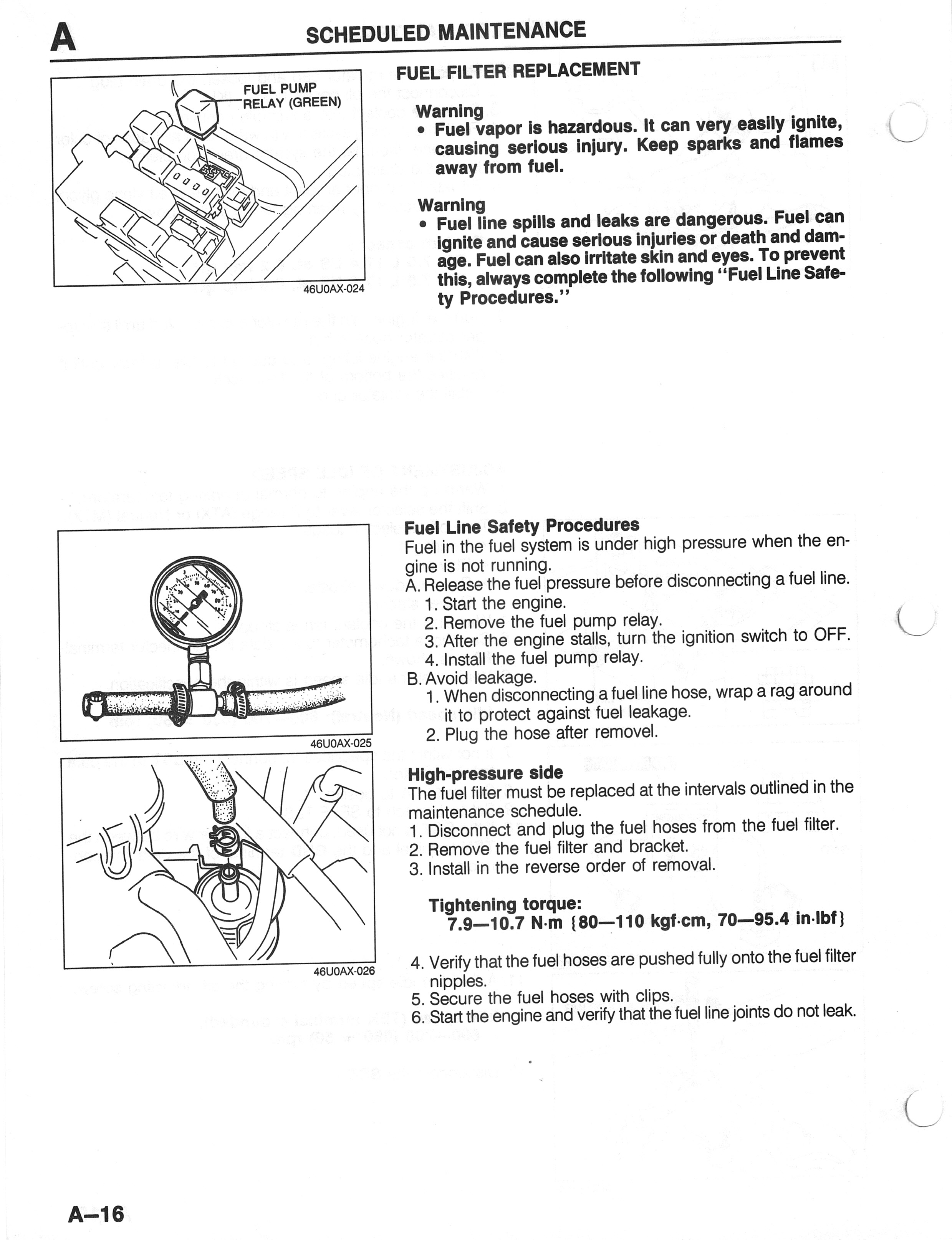 Us Mazda 626 Mx 6 Work Shop Manuals Scans 1994 Wsm Fuel Filter Replacement A 16 727kb Aug 24 2014 043021 Am